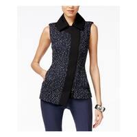 Anne Klein Womens Outerwear Vest Tweed Collar