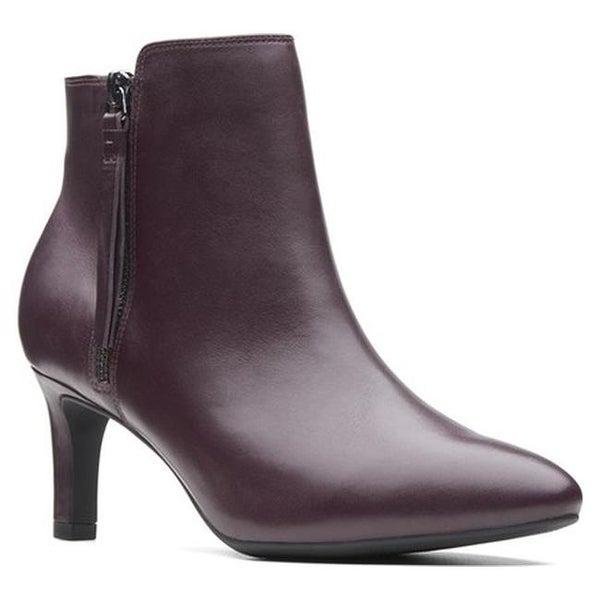e5613435229 Shop Clarks Women s Calla Blossom Ankle Boot Aubergine Leather ...