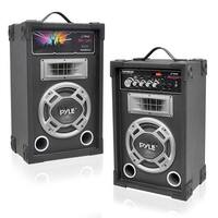 Dual 800 Watt Disco Jam Powered Two-Way PA Speaker System with