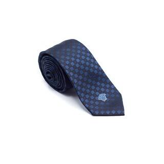 Gianni Versace Mens Navy Diamond Maze Pattern Pure Silk Medusa Ties - no size