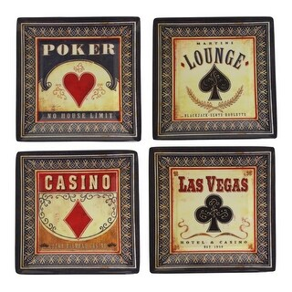 Game Night Poker Lounge Vegas Casino Melamine 5 Inch Appetizer Plates Set of 4