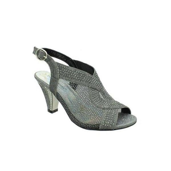 Embellished Mesh Mid-Heel Slingback Pump