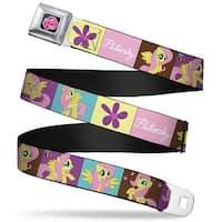 My Little Pony Logo Full Color Black Pink Fluttershy Blocks Webbing Seatbelt Belt