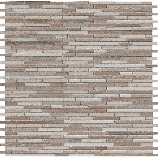 "MSI AS-BMP10MM 12"" x 12"" Random Linear Mosaic Wall & Floor Tile - Smooth Marble Visual - Sold by Carton (10 SF/Carton) - Honed"