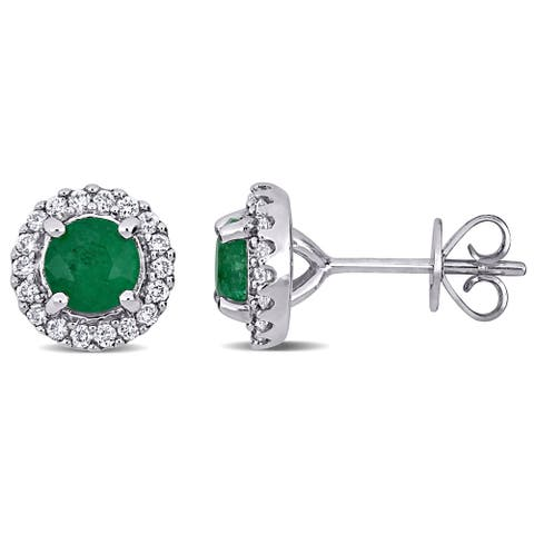 Miadora 14k White Gold Emerald and 1/3ct TDW Diamond Halo Stud Earrings - 9mm x 9mm x 6mm