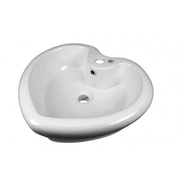 Renovator's Supply Above Counter Vessel Bathroom Sink Heart White China Faucet