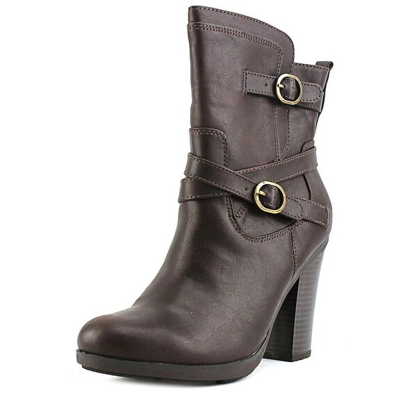 Nine West Amelya Women Round Toe Synthetic Brown Bootie
