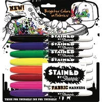 Sharpie Brush Tip Permanent Fabric Markers, Assorted Colors, Set of 8