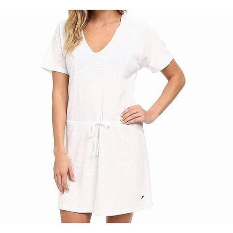 Speedo White Womens Size Large L V-Neck Hooded Cover-Up Swimwear