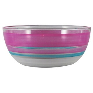 Pink and White Retro Stripe Hand Painted Glass Serving Bowl 11""