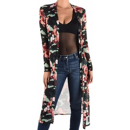 f4ae784ad94 Shop Funfash Plus Size Women Black Floral Mesh Kimono Cardigan Made in USA  - Free Shipping On Orders Over  45 - Overstock - 17627025