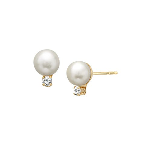 5.5 mm Pearl Stud Earrings with Cubic Zirconia in 14K Gold