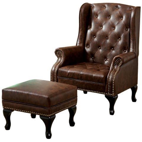 Vaugh Brown Leatherette Accent Chair