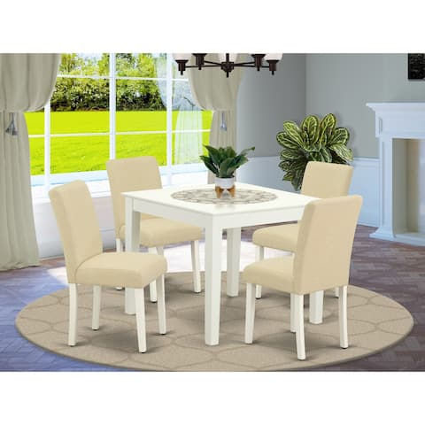 Square 36 Inch Table and Parson Chairs in Light Beige Linen Fabric (Number of Chairs Option)
