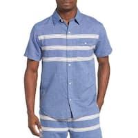 Sol Angeles Mens Puerto Embroidered Short-Sleeve Chambray Shirt Large L Indigo