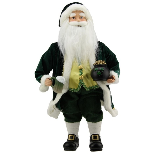 """18.5"""" Luck of the Irish Santa Claus Holding a Beer Christmas Decoration - green"""
