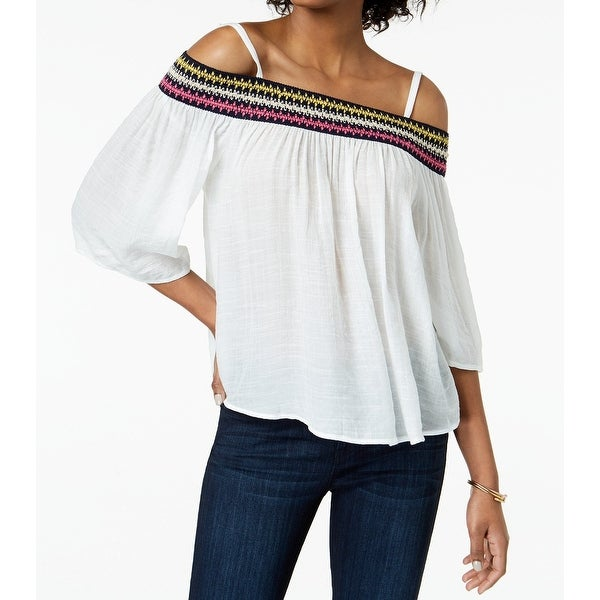 BCX White Women's Size XL Embroidered Off-The-Shoulder Blouse