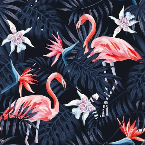 Huana Red Flamingos Removable Wallpaper - 10'ft H x 24''inch W