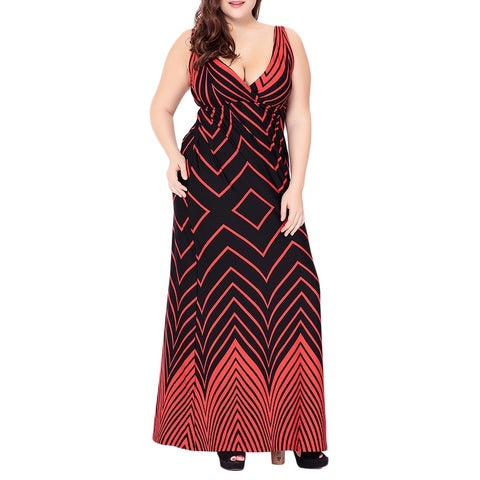 QZUnique Women's Plus Size Boho Printing Maxi Dresses V Neck Sleeveless Beach Evening Party Skirt