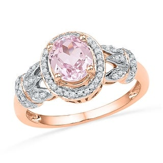 1/6Ctw Diamond 3/4Ctw Morganite Ring Rose-Gold 10K