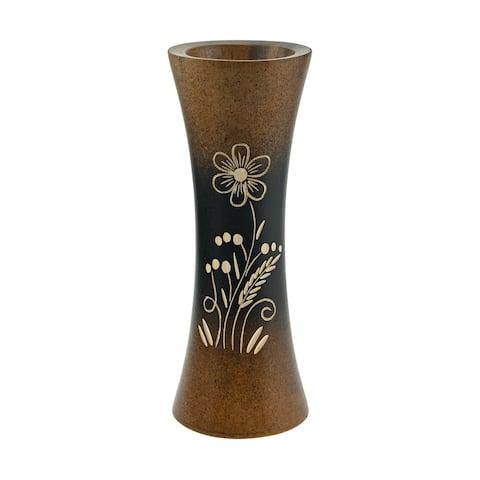 Handmade Bloom Like a Flower Brown Mango Tree Wood Flower Vase (Thailand)