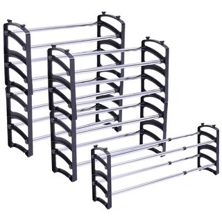Costway Set of 5 PC Stackable Extendable Shoe Rack Organizer Storage Shelf Closet Stand