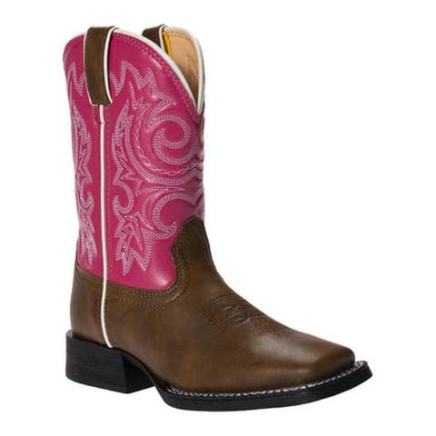 "Durango Boot Girls' BT217 8"" Pull-On Brown/Hot Pink"