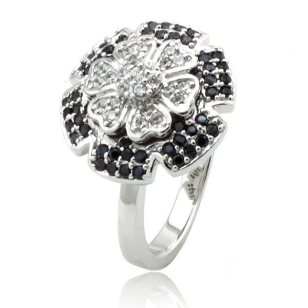 Sterling Silver Clear & Black CZ Camellia Ring