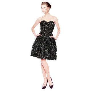 Vicky Tiel Exquisite Ruched Bustier Silk Organza Polka Dot Party Eve Dress - 2