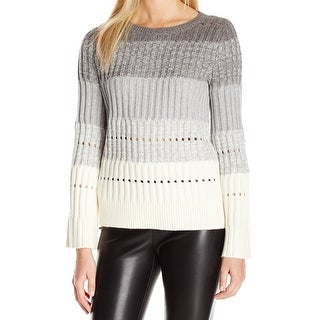 Vince Camuto NEW Gray Womens Size Large L Striped Knitted Sweater