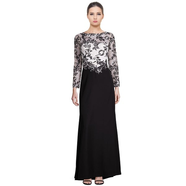 ee23843d4c6e Tadashi Shoji Lace Bodice Contrast Long Sleeve Evening Gown Dress  Black/White