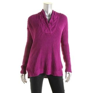 Lauren Ralph Lauren Womens Ribbed Knit Surplice Tunic Sweater
