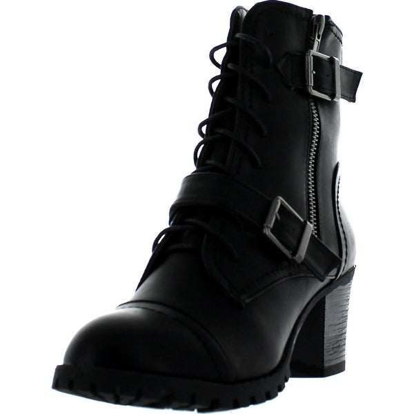 Bamboo Womens Baxter-12L Double Buckle Chunky Heel Industrial Bootie - black bnh