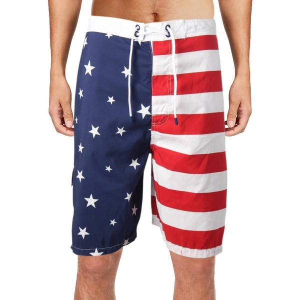 c54e1858a87d1 Shop Polo Ralph Lauren Mens Big & Tall Kailua Flag Print Swim Trunks - 3XB  - Free Shipping On Orders Over $45 - Overstock - 23577861
