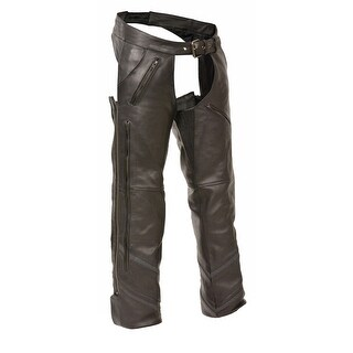 Mens Leather Vented Chaps with Reflective Piping