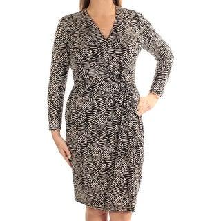 ANNE KLEIN $129 Womens New 1125 Beige Beige Printed Faux Wrap Dress 0X Plus B+B