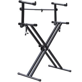 Goplus Pro Adjustable 2-Tier X Style Dual Keyboard Stand Electronic Piano Double New