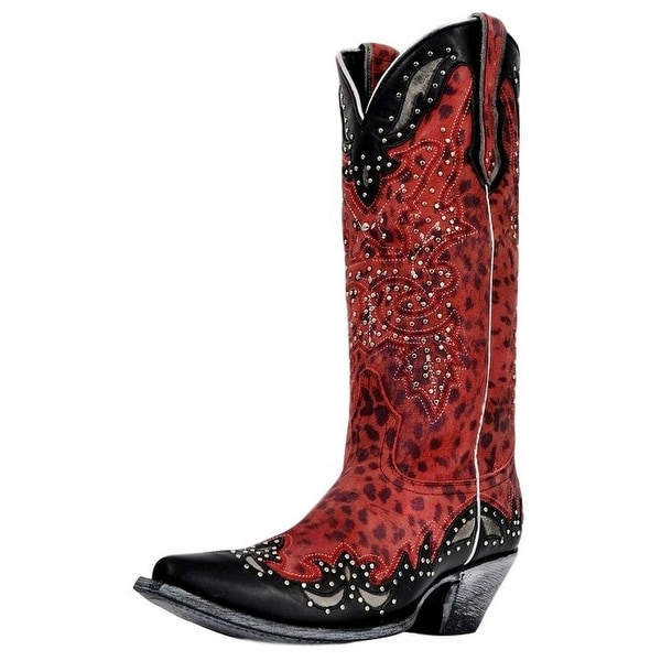 Johnny Ringo Western Boots Womens Cheetah Print Studded Red