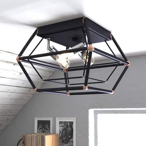 Bartlett 18-in W Bronze Industrial Cage Flush Mount Ceiling Light Fixture - 18-in. W x 8.75-in. H x 18-in. D