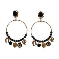 Dolce & Gabbana Dolce & Gabbana Gold Brass Black Crystal Earrings