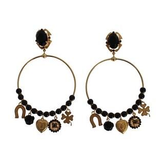 Dolce & Gabbana Gold Brass Black Crystal Earrings