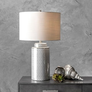 "Link to nuLOOM 29"" Ceramic Floral Trellis Linen Shade Table Lamp Similar Items in Table Lamps"