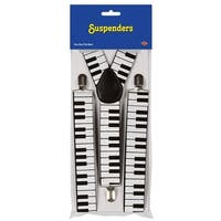 Club Pack of 12 Black and White Piano Keyboard Adjustable Suspender Costume Accessories