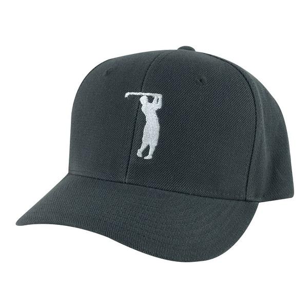 Golfer Swing Mid Crown Curved Brim Adjustable Snapback Cap Hat - Chrocal  White - Grey