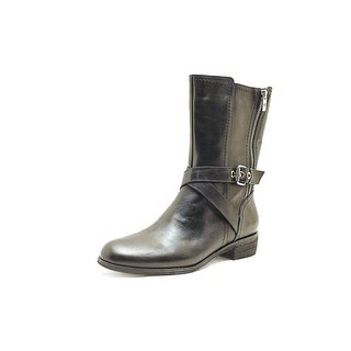 Marc Fisher Deni Women Round Toe Leather Mid Calf Boot