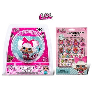LOL Surprise Puzzle In a Ball and Sticker Book with Puffy Stickers (2 Items)
