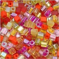 Miyuki 4mm Glass Cube Beads Color Mix Tango Tropical 10 Grams