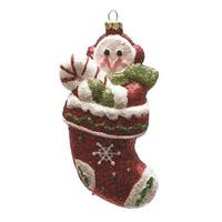 "5"" Merry & Bright Red, Green and White Glitter Shatterproof Snowman in Christmas Stocking Ornament - RED"