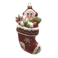 "5"" Merry & Bright Red  Green and White Glitter Shatterproof Snowman in Christmas Stocking Ornament"