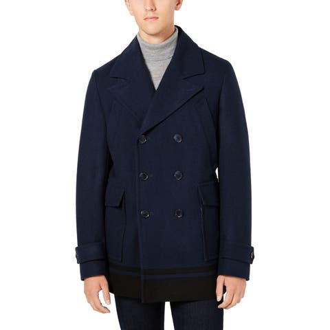 Calvin Klein Mens Navy Blue Size 44R Double Breasted Peacoat Wool